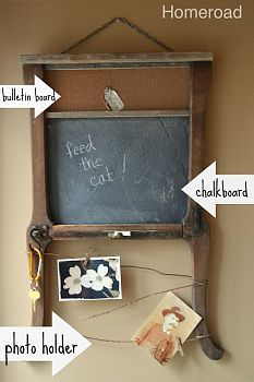 Upcycled Memo Board Using leftover pieces from other projects, old hardware, and string.... I created a vintage, junk styled memo board.......