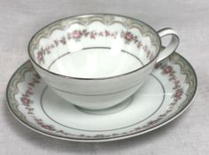 Noritake-China-Cup-and-Saucer-Glenwood-Pattern-5770-White-with-Roses-Silver