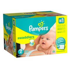 Pampers Swaddlers Diapers, Size 2, One Month Supply, 204 Count (Packaging May Vary)
