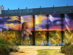 Kamba,South Australia - Silo Art Trail - Australia's number one must do road trip - Great Australian Adventure Country Barns, Farm Art, 3d Street Art, Building Art, Weird Pictures, Art Graphique, Visual Effects, Blue Abstract, Public Art