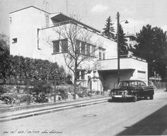 Tatra T603 in front of Villa Linda, Na Babe 6, Praha 6 by Pavel Janak, 1932-3, pic taken in 1973, Vaclav Linda was a school director, his wife Pavla was sister of famous Czech Cubist sculptor Otto Gutfreund  Baba estate is a must visit while in Prague