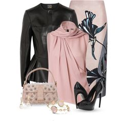 """Leather Jacket & Pumps"" by justjules2332 on Polyvore"