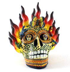 Day of the Dead Folk Art Gallery Alfonso Castillo Skull Fire