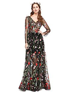A-Line Illusion Neckline Floor Length Lace Formal Evening Dress with Lace Pleats by Huaxirenjiao Evening Dresses Online, Cheap Evening Dresses, Elegant Dresses, Pretty Dresses, Formal Dresses, Plus Size Dresses, Dresses For Sale, Romanian Wedding, Illusion Dress