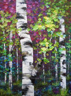 "NEW Painting! ""Last Days of Summer"" Colourful Autumn Aspen / Birch Tree Painting by Calgary Alberta Landscape Artist Melissa McKinnon Abstract Landscape, Landscape Paintings, Landscapes, Painting & Drawing, Knife Painting, Colorful Paintings, Acrylic Paintings, Colourful Art, Tree Paintings"