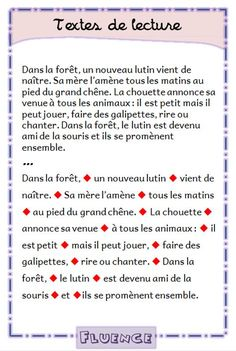 texte-ameliorer-vitesse-de-lecture-fluence-lire-par-groupes-de-sens-le-lutin-cp-ce1 French Practice, Reading Comprehension Activities, French Expressions, 5th Grade Reading, French Classroom, Cycle 3, Speech Language Pathology, French Lessons, Teaching French