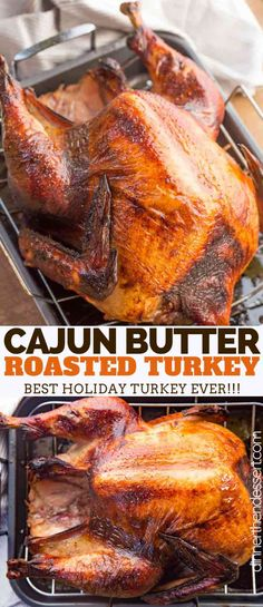 Cajun Roasted Turkey made with paprika, cayenne pepper, and other cajun spices is the PERFECT twist on a traditional roast turkey this Thanksgiving! turkey recipe Cajun Roasted Turkey - Dinner, then Dessert Thanksgiving Recipes, Holiday Recipes, Dinner Recipes, Thanksgiving Chicken, Easy Thanksgiving Dinner, Cajun Recipes, Cooking Recipes, Cajun Turkey, Thanksgiving