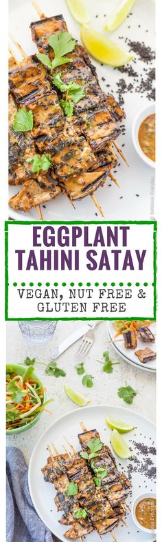 These Grilled Eggplant Kebabs are grilled until soft and lightly caramelised in a tahini satay marinade. A fun twist on the traditional satay recipes that is vegan, nut free & gluten free.