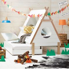 This TeePee is a Great idea for a toddlar bed, could use the pull out draw for a guest bed or toy storage :)