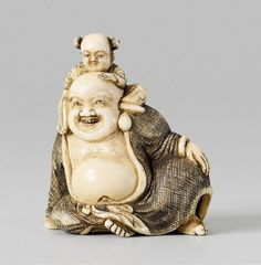 An ivory netsuke of a friendly Hotei. Early 19th century. Seated, the left hand placed on his raised leg, and a karako with a stiff fan seated on his shoulder and holding on to Hotei's bald head. Hotei's garment crosshatched and stained with black ink for effect. Inscribed Tomotada in a rectangular reserve.