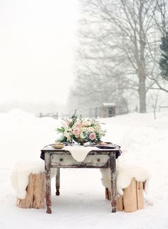 Winter wedding table set in the snow! | Stefanie Kapra Photography