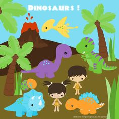 Dinosaurs Digital Clipart Images are high quality 300dpi png format elements.    20 images include:  10 dinosaurs  2 children  4 dino eggs  palm tree  volcano  2 dinosaur tracks      They may be used in personal and small business, no big business or mass production.  If you have any questions regarding co...