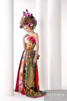 NOT INTO IT but interesting -- Modern kimono inspired wedding dress by Aliansa Japanese designer Pretty Outfits, Pretty Dresses, Strapless Dress Formal, Formal Dresses, Wedding Dresses, Japanese Wedding Kimono, Modern Kimono, Erica, Oriental Fashion