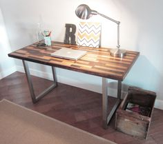 54x28 Contemporary Industrial Desk (Remnants- Blonde Lager). $550.00, via Etsy.