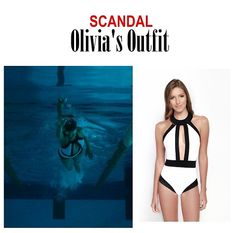 "On the blog: Olivia Pope's white one piece halter swimsuit with black trim | Scandal 406 - ""An Innocent Man"" #tvstyle #tvfashion #outfits #fashion #gladiators #TGIT"