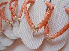 Bridesmaid flip flops Tangerine Coral great for beach wedding!!!