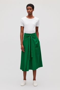 Model front image of Cos a-line wrap-over skirt in green