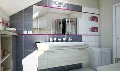 Funkčná podkrovná kúpeľňa... Viac náhľadov tejto vizualizácie na: Kupelnovy-manual.sk