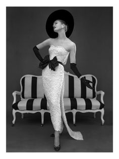 Model in John Cavanagh's Strapless Evening Gown, Spring 1957 by John French. Giclee print from Art.com.