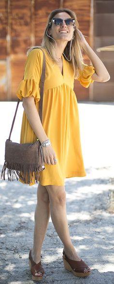Mustard Baloon Dress Summer Style