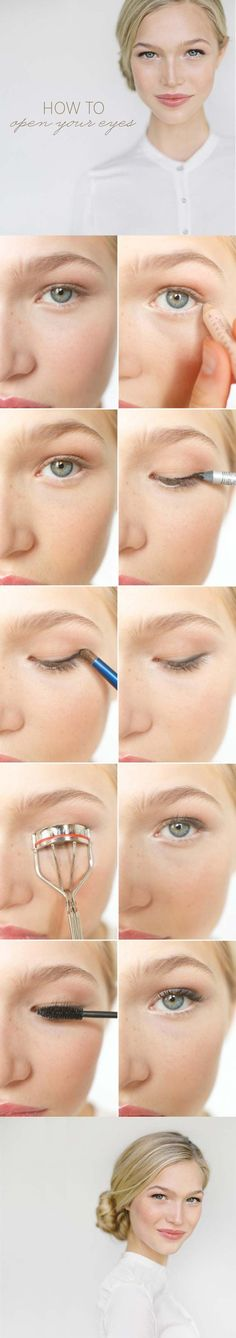 Makeup tips and tricks to make you look less tired - This makeup tutorial shows . Makeup tips and tricks to help you look less tired - This makeup tutorial shows you how to open your eyes to look wi Makeup Tricks, Makeup Guide, Eye Makeup Tips, Makeup Dupes, Diy Makeup, Makeup Tools, Makeup Cosmetics, Makeup Brushes, Beauty Makeup