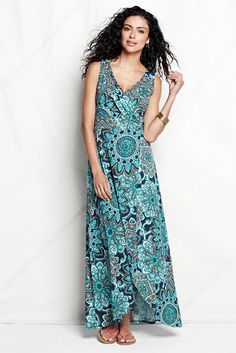 Women's Print Fit and Flare Maxi Dress from Lands' End