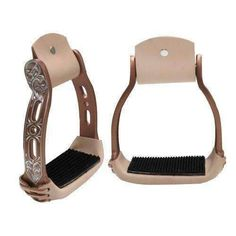 Formay Aluminum Horse Saddle Bell Stirrups Heart Cutouts Leather Tread 3 Neck
