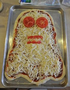 Ghost pizza for a Halloween dinner