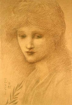 Edward Burne-Jones - Portrait of Laura Littleton, 1885 (pre-Raphaelite) Cumbria, Edward Burne Jones, Pre Raphaelite Brotherhood, Biblical Art, Portrait Sketches, Classical Art, Beautiful Drawings, Old Master, Art Music