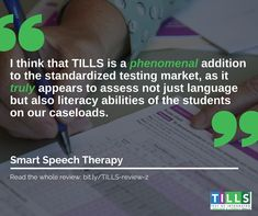 The Test of Integrated Language & Literacy Skills (TILLS) is an assessment of oral and written language abilities in students years of age. Literacy Skills, Writing Skills, Therapy Ideas, Speech Therapy, Integrity, Assessment, Language, Student, Marketing