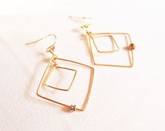 Square Hoop Earrings/Pierced Earrings (with guitar's ball-ends)
