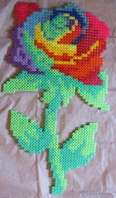 Multicoloured Rose hama perler beads by Keely Jade