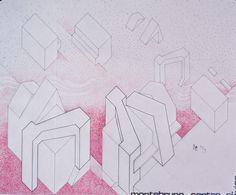 1975 MONTEBRUNO_PROGETTO DI SISTEMAZIONE PALAZZO COMUNITA' MONTANA_carta da lucido cm. 65 x 78.by Brunetto De Batté