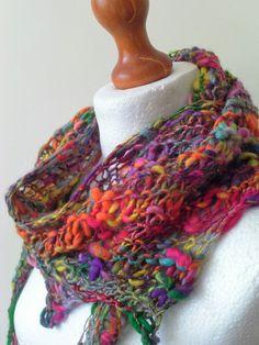 Funky Handknit Scarf Knit Scarf Handspun por WetheraldAndCross