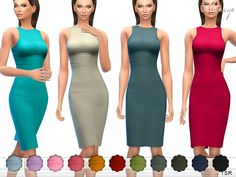 Tank dress featuring a sleeveless design, a scoop neck and a racerback style. 15 different colors.  Found in TSR Category 'Sims 4 Female Everyday'