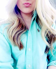 Turquoise polo button up absolutely adore the color