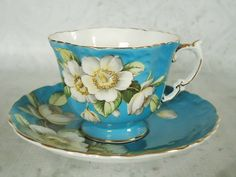Aynsley Teacup and Saucer   Aynsley Turquoise by SwirlingOrange11, $68.00