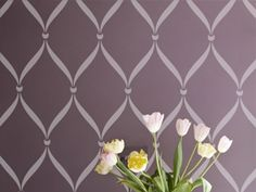 Stencil Designs - Allover Pattern Stencils: Ribbon Lattice. LOVE THIS IDEA! On furniture, a wall, fabric. BEAUTIFUL!