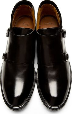 Paul Smith: Black Leather Monk Strap Gill Shoes