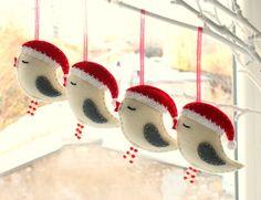 Felt Bird  with Santa Hat Christmas tree by HandmadeByHelga