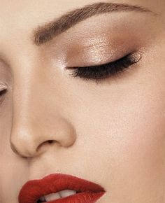 Red lip + shimmer eye.