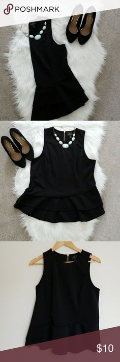 Black Peplum Top Worthington Petite Black Ruffle Peplum Top Size: Petite Large Adorable gold zipper on back of top New Without Tags Worthington Tops Tank Tops