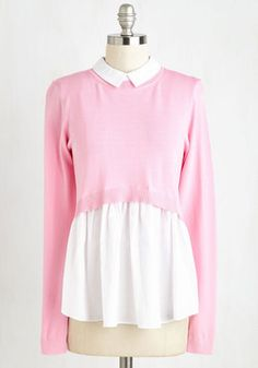 Oxford Matriculation Top. This unique twofer recreates the traditional preppy look of a pink cropped sweater over a white Oxford blouse without the bulk of separates. #pink #modcloth