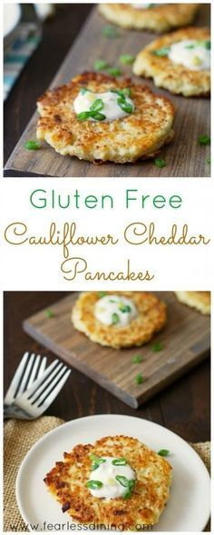 Gluten Free Cauliflower Cheddar Pancakes are a fun appetizer or snack that are both nutritious and delicious. Riced cauliflower has so many fun uses! - Gluten Free Cauliflower Cheddar Pancakes are a fu Vegetable Recipes, Gluten Free Recipes, Low Carb Recipes, Vegetarian Recipes, Cooking Recipes, Healthy Recipes, Spinach Recipes, Whole30 Recipes, Diet Recipes