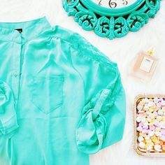 1XL Mint Delight Turquoise Lace Sheer Blouse Mint Delight Lace Sheer Blouse size 1xl. Nwt. Bundle to save! Tops Blouses