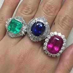 Repost @tonyworld168  Color of the precious stone. Emerald, Blue sapphire and Rubellite.
