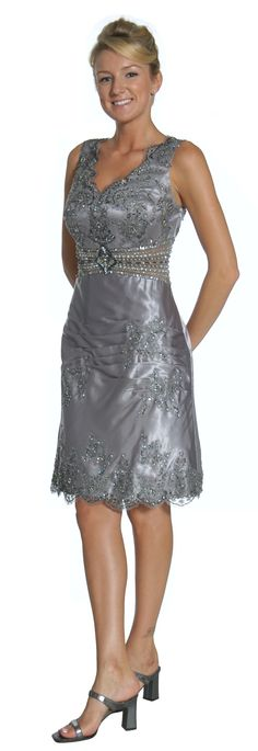 Short Silver Mother of the Bride/Groom Dress Knee Length Sequins