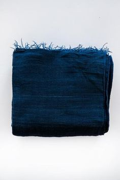 handwoven, dyed and embellished  periwinkle hydrengea indigo 110 x 92 inches 100% handspun cotton handmade in ethiopia