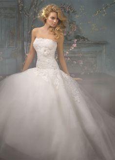 Ball Gown Wedding Dresses Strapless Chapel Train White H2jc0001