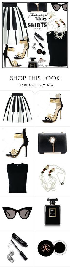 """""""Skirts  - Black and White"""" by goreti ❤ liked on Polyvore featuring Rito, Miriam Haskell, Chanel and Bobbi Brown Cosmetics"""